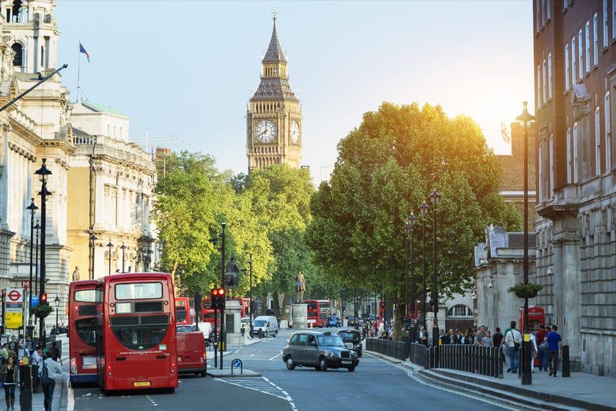 Big Ben and Whitehall from Trafalgar Square, London